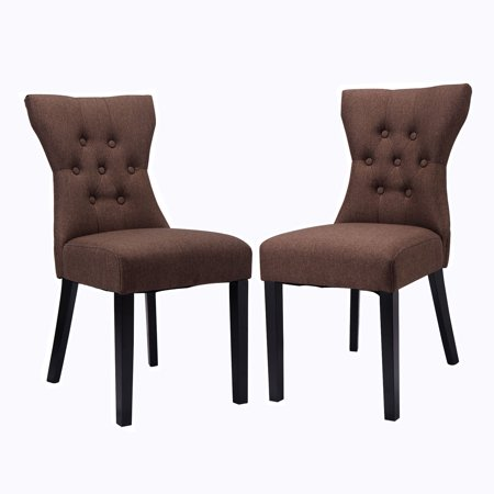 Costway 2PCS Dining Chair Modern Elegant Chair Home Kitchen Living Room Furniture Brown