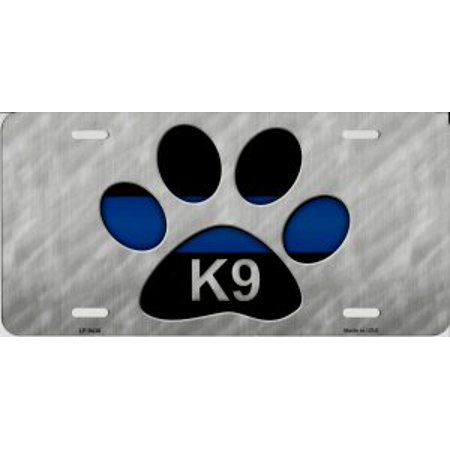 K9 License Plate - Police Thin Blue Line K9 Paw Print Metal License Plate