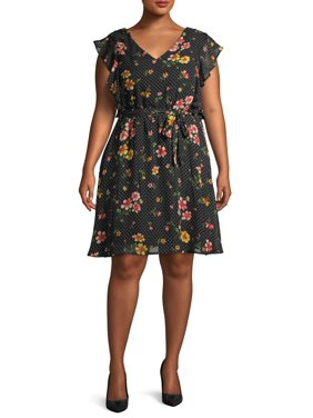 Wrapper Women's Plus Size Fit and Flare Ruffle Trim Dress