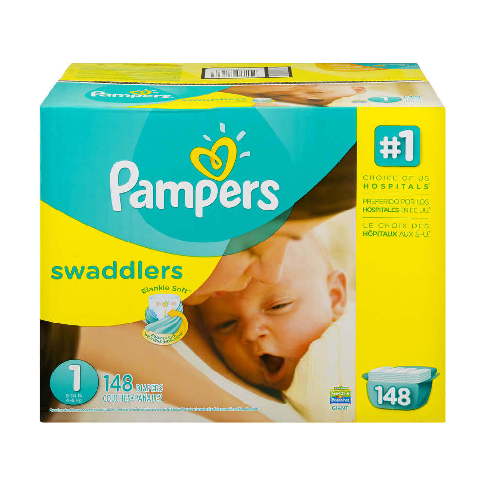Pampers Swaddlers Diapers, Size 1, 148 Diapers