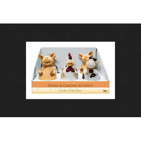Alpine Pig, Cow, Chicken Ceramic Assorted Outdoor Garden Statue ()