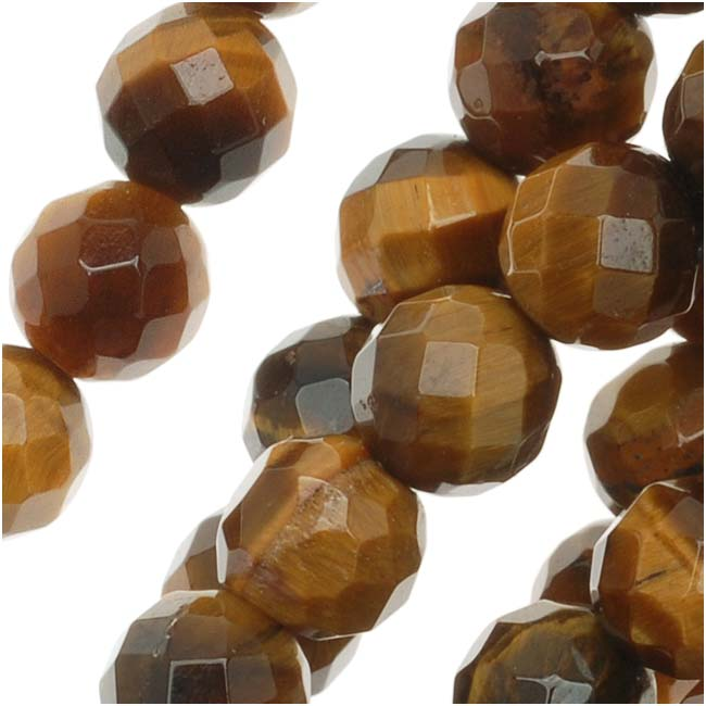 Tiger Eye Gemstone 6mm Faceted Round Beads 'Grade A' - 15.5 Inch Strand (Brown & Gold)