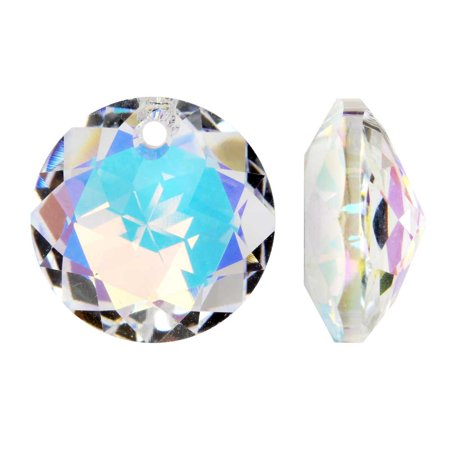 Swarovski Crystal, #6430 Round Classic Cut Pendants 10mm, 2 Pieces, Crystal Ab