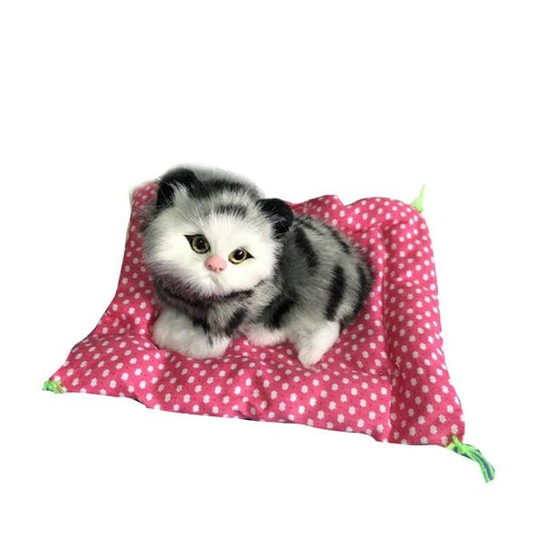 Faux Fur Realistic Mini Sleeping Cat on Rug Kids Plush Toy Kitten Christmas Gift