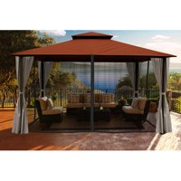 Sedona 11' x 14' Gazebo with Cocoa Rust Color roof and Privacy Curtains and Mosquito Netting
