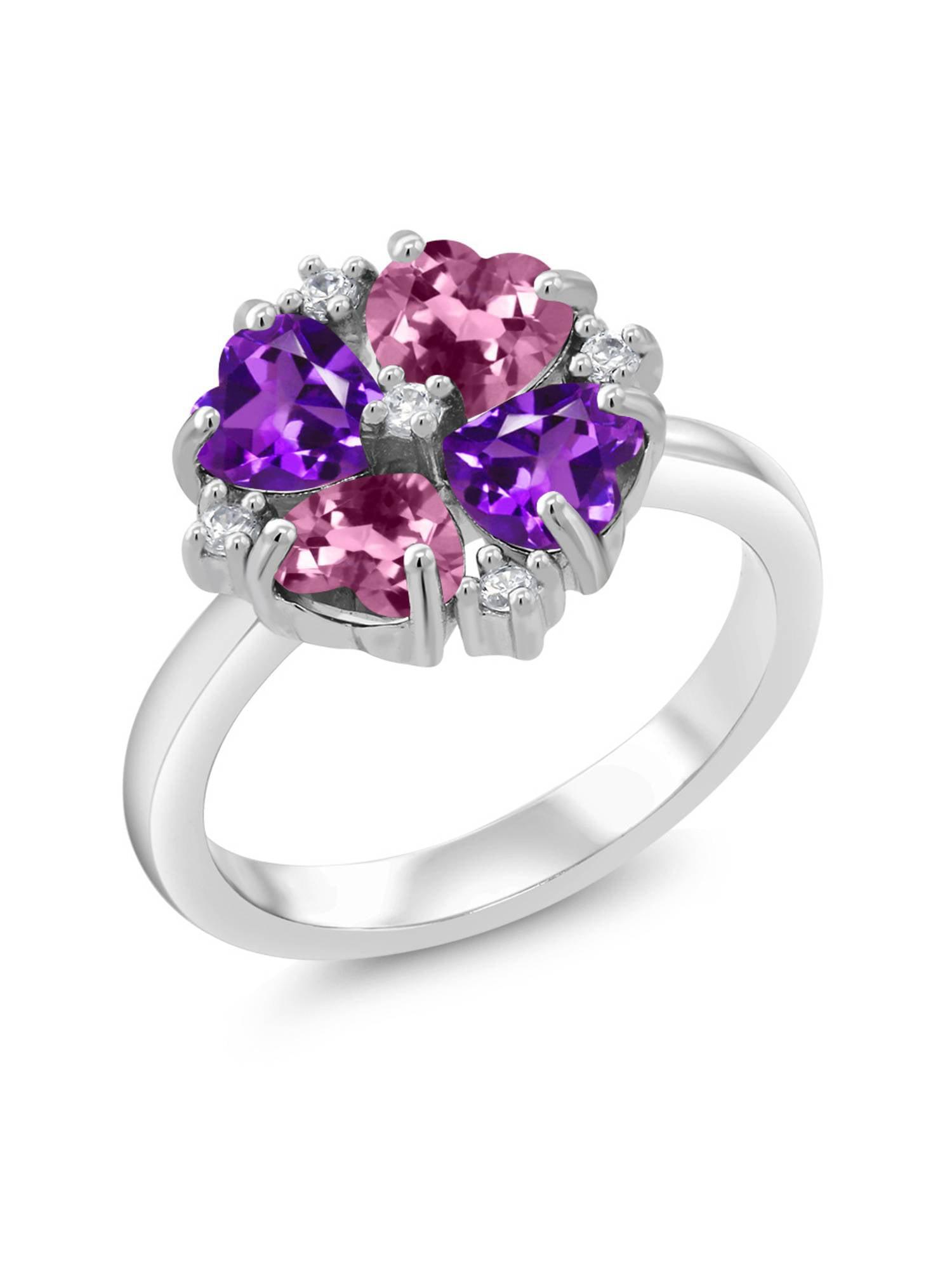 1.76 Ct Heart Shape Pink Tourmaline Purple Amethyst 925 Sterling Silver Ring by