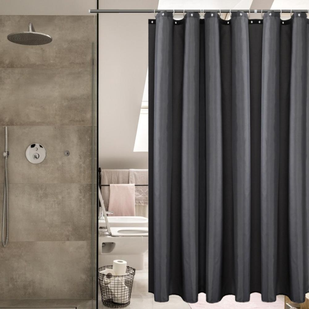 A Gray Sand Waterproof Bathroom Polyester Shower Curtain Liner Water Resistant