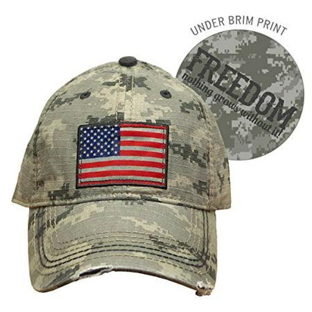 Farm Boy Brand Cap - Adult Men's Camo USA Flag Hat - Adjustable Velcro Strap - Uta Caps