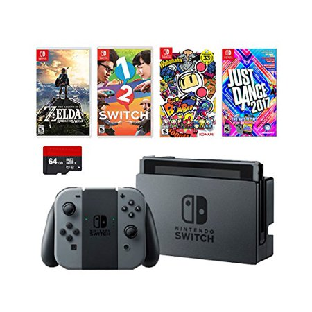 Nintendo Swtich 6 Items Deluxe Game Bundle Nintendo Switch 32Gb Console Gray Joy Con  64Gb Micro Sd Memory Card The Legend Of Zelda  Breath Of The Wild 1 2 Switch Just Dance 2017 Game Disc