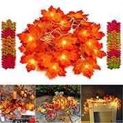 Thanksgiving Decorations Lighted Fall Garland String Lights for Indoor Outdoor Home Autumn Fall Decor - 9.8 Feet 20 LED and Bonus 200 Pcs Fake Fall Leaves, Thanksgiving Gift