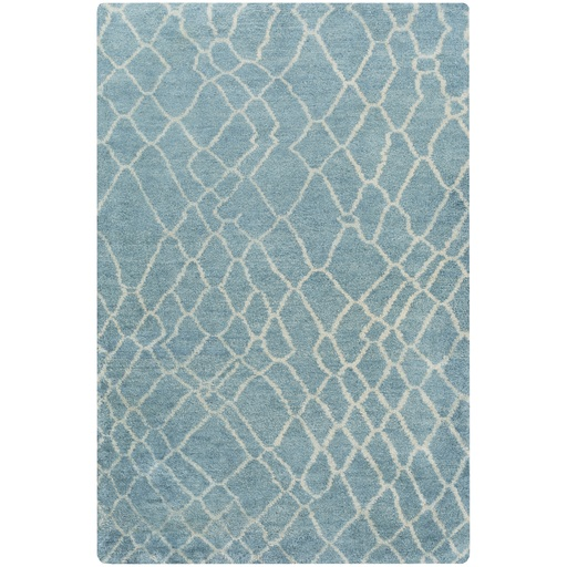 5' x 8' Extremely Wild Teal and Beige Wool Hand Knotted Area Throw Rug
