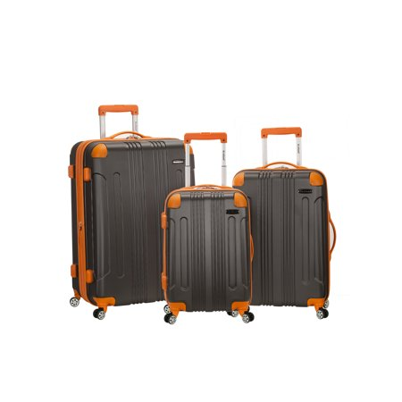 Rockland Luggage Sonic 3 Piece Hardside Spinner Luggage - Trolley Silver Hardside Luggage