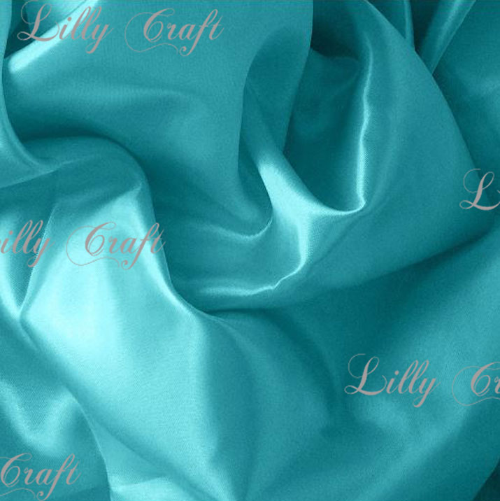 """Aqua Charmeuse Satin Fabric 58""""/60"""" Inches Wide - Sold By The Yard"""