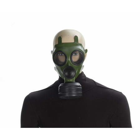 Green & Black Gas Mask Adult Costume Accessory One Size - Scary Halloween Gas Mask