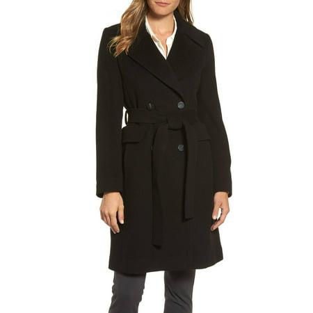Waisted Wool - Diane von Furstenberg Women's Double Breasted Tie Waist Wool Coat Black 2