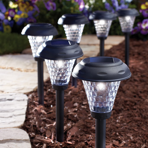 moonrays paytonstyle solar powered led path lights set of 8 black - Path Lights