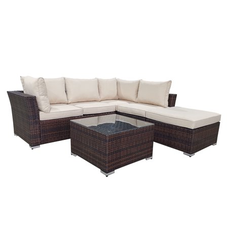 Cloud Mountain 4-Piece Patio Conversation Set Outdoor Furniture Sectional Sofa All Weather Wicker Couch Set with Glass Coffee Table, Brown Wicker for Lawn, Backyard, Porch, Deck