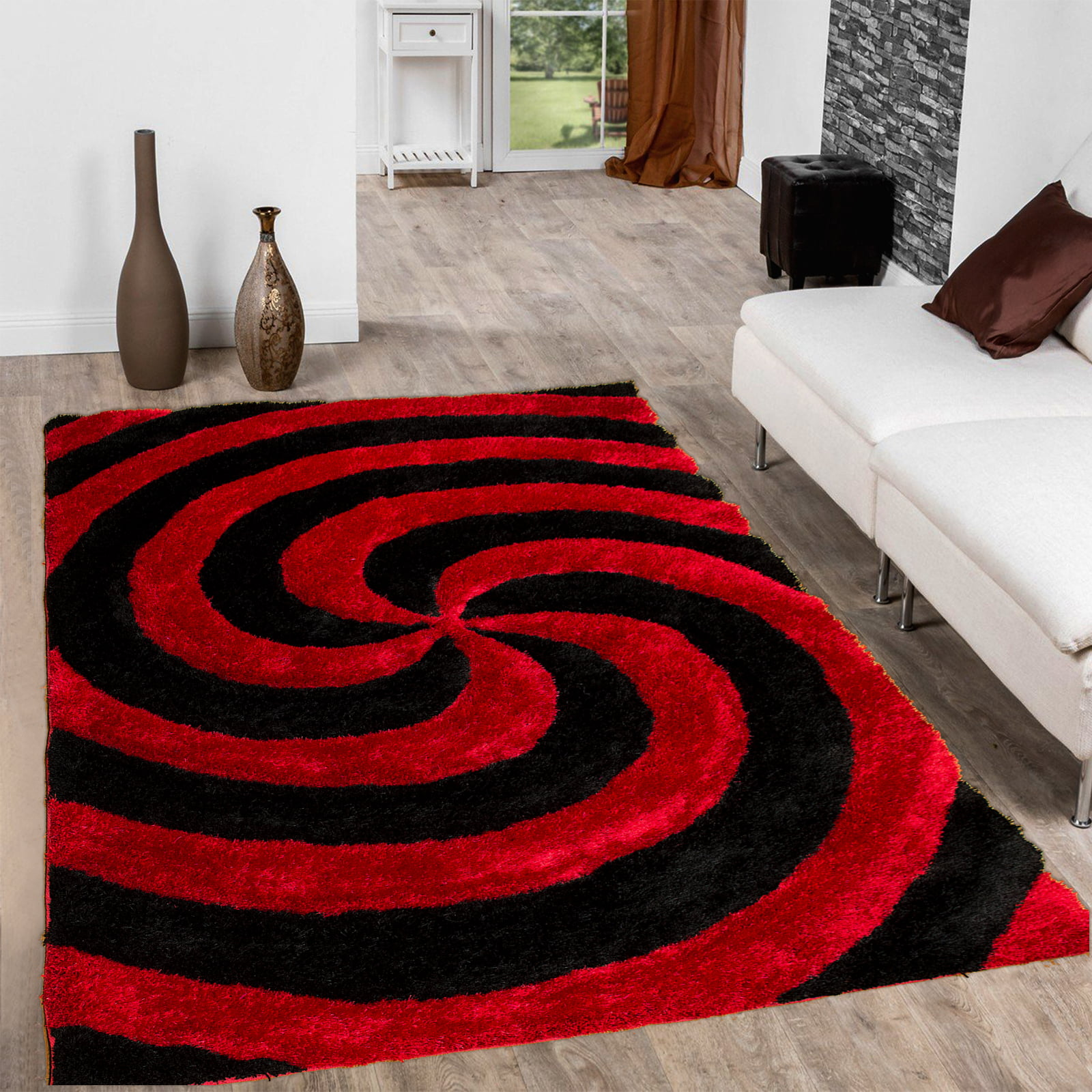 Allstar Red Shaggy Area Rug with 3D Black Spiral Design. Contemporary Formal Casual Hand Tufted (5' x 7') by Overstock