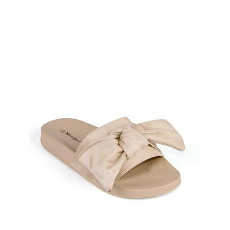 Nature Breeze Bow Tie Women's Slip On Sandals in Beige (Bowie Sandal)