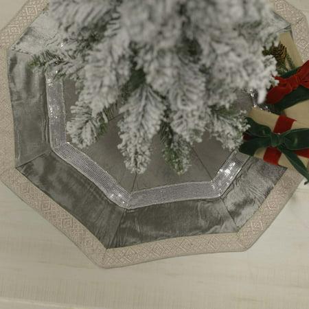 Velvet Tree Skirt (Dove Grey Glam Christmas Decor Allura Viscose Metallic Ribbon Velvet Modern Tree Skirt )