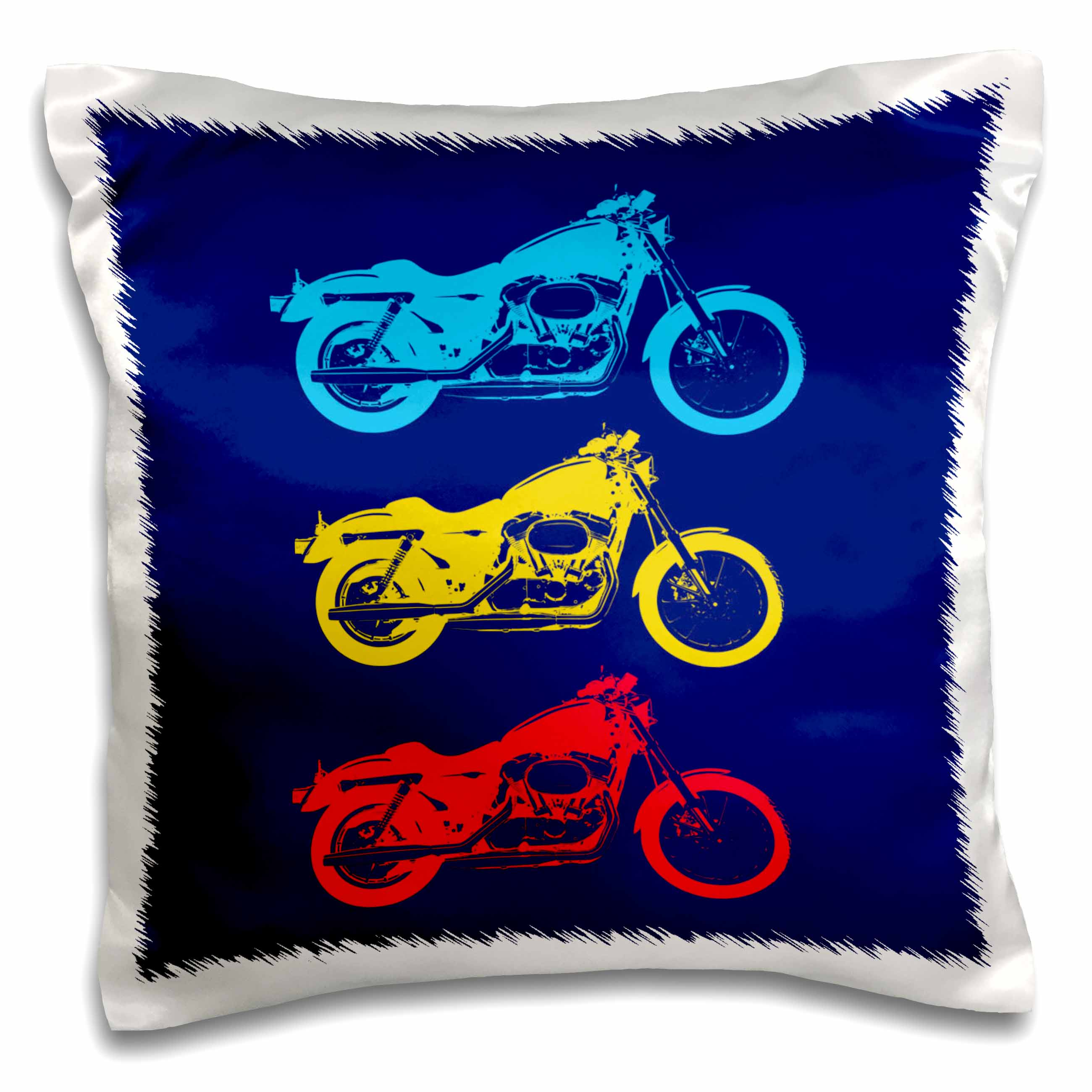 3dRose Motorcycle. Blue, yellow and red. Decor. Navy, Pillow Case, 16 by 16-inch by 3dRose