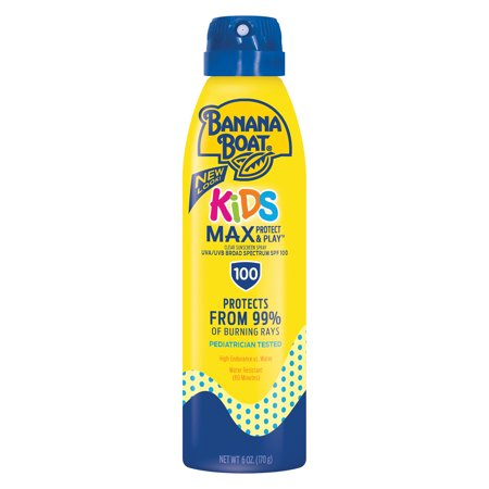 Banana Boat Kids Max Protect & Play Sunscreen C-Spray SPF 100, 6 Oz (Kids Sunscreen Banana Boat)