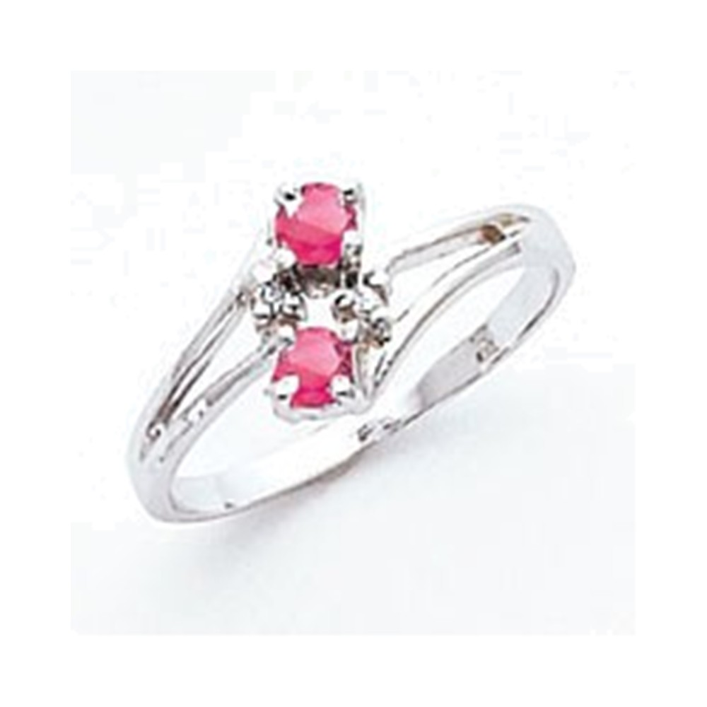 14k White Gold 3mm Pink Tourmaline AA Diamond ring Diamond quality AA (I1 clarity, G-I color) by