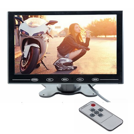 AMPrime 9 Inch TFT LCD Car Monitor Reverse Rear View Monitor HD Color Screen 2 Video Input / HDMI / VGA Support Mini PC Display