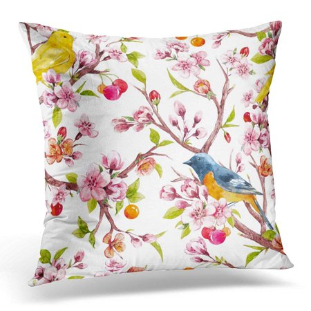 ARHOME Watercolor Tree Branches with Sakura Flowers Cherry Blossoms Cherries and Young Green Leaves Objects Throw Pillow Case Pillow Cover Sofa Home Decor 16x16 Inches ()