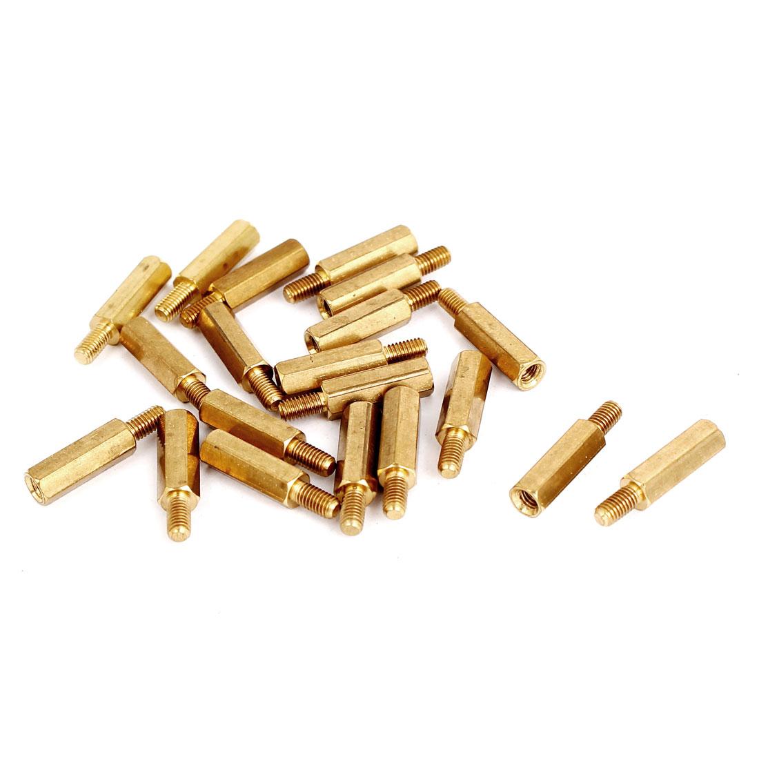 Unique Bargains M3 Male/Female Thread Brass Hexagonal PCB Spacer Standoff Support 14mm+6mm 20pcs