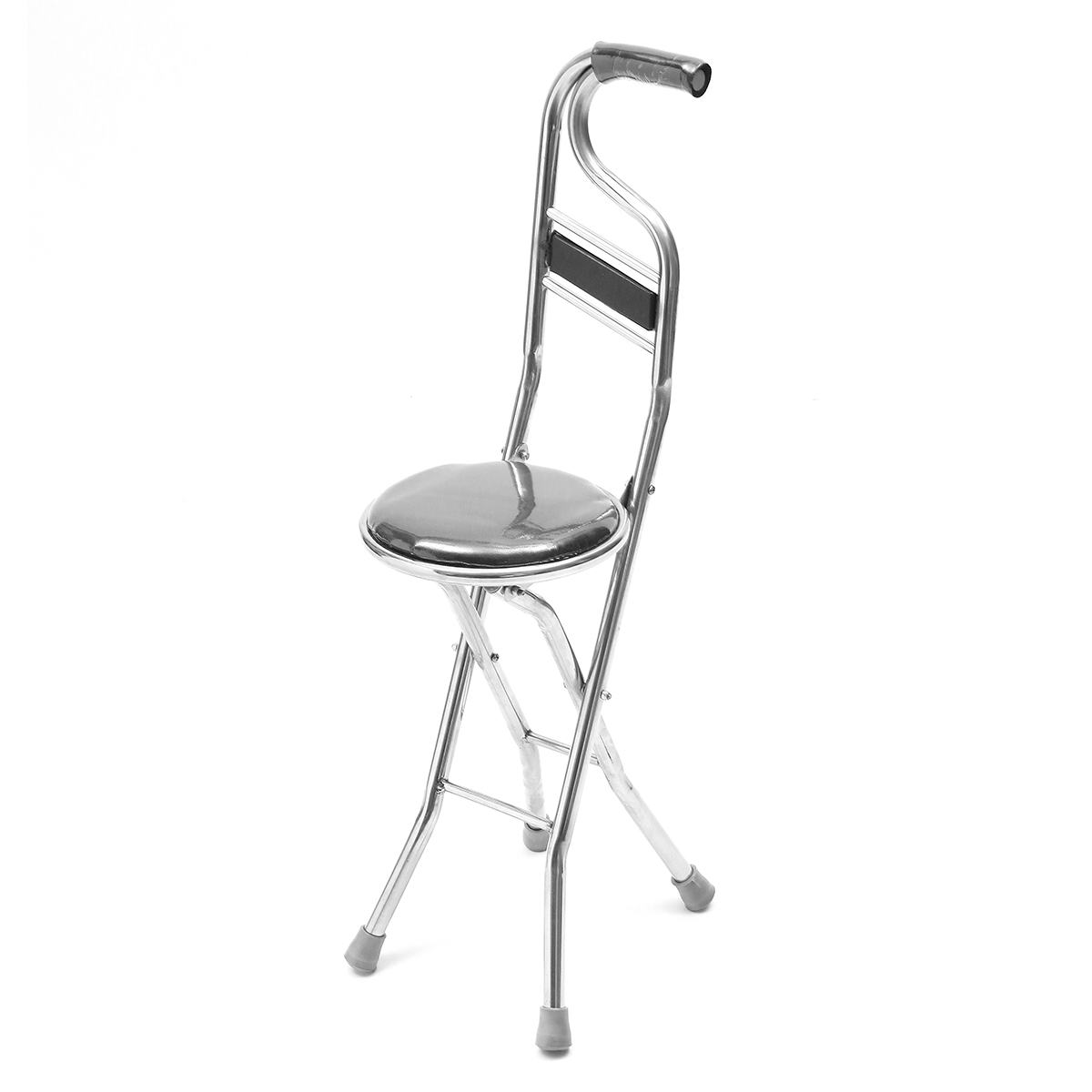 2 In 1 Adjustable Stainless Walking Cane Stick Elderly Care Portable  Folding Walking Stick Travel Cane With Chair Seat Stool