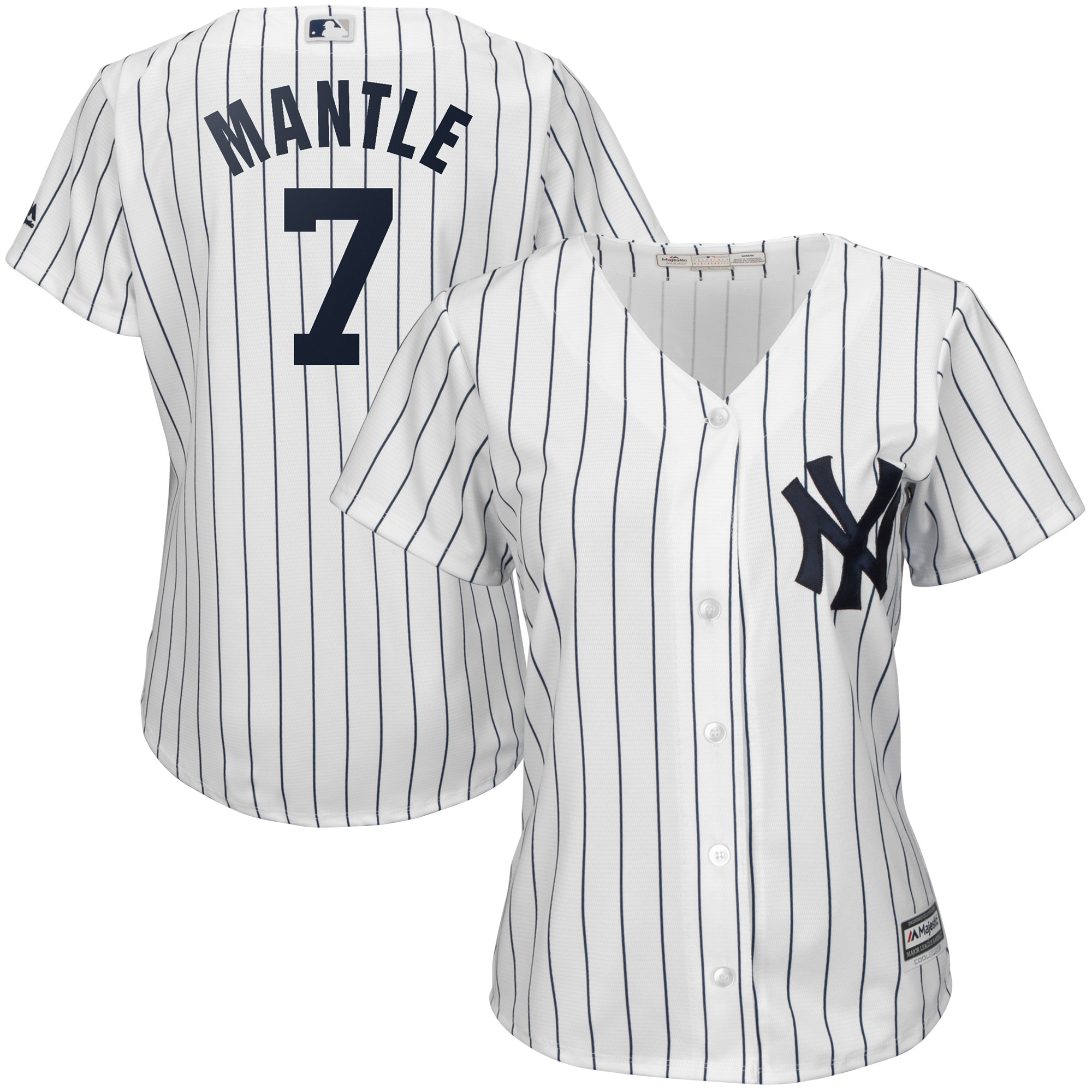Mickey Mantle New York Yankees Majestic Women's Cool Base Player Jersey White by MAJESTIC LSG