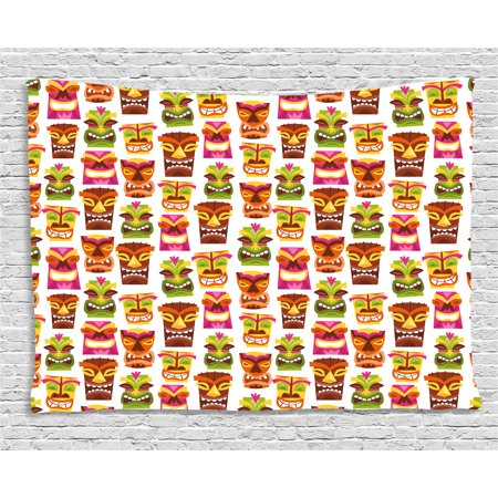 Tiki Bar Decor Tapestry, 60's Retro Inspired Cute Hawaiian Party Happy Tiki Statues Pattern Colorful, Wall Hanging for Bedroom Living Room Dorm Decor, 60W X 40L Inches, Multicolor, by Ambesonne (Retro Hawaiian Decor)