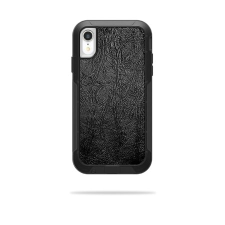 Pursuit Leather (Skin for OtterBox Pursuit iPhone XR Case - Black Leather | Protective, Durable, and Unique Vinyl Decal wrap cover | Easy To Apply, Remove, and Change Styles )