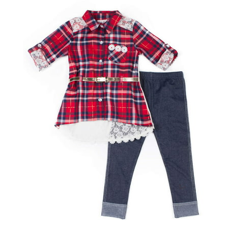 Plaid and Lace Belted Shirt & Knit Denim Legging, 2-Piece Outfit Set (Little Girls)