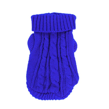 Pet Dog Poodle Knitwear Ribbed Cuff Turtleneck Clothes Sweater Royal Blue - Blue Pet Sweater