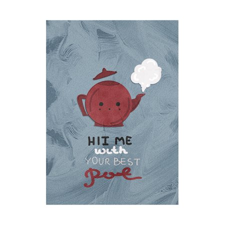 Hit Me With Your Best Pot Kitchen Pun Decor Tea Kettle Wall Plastic Small Signs, 7.5x10.5