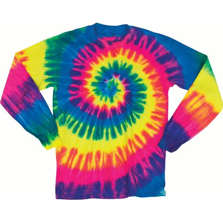 Faded Spiral Adult Tie Dye Long Sleeve T Shirt Tee