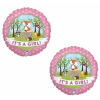 """Fox Woodland Animals It's a GIRL Welcome Baby Shower (2) 18"""" Party Balloons"""