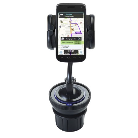 Exhibit System - Unique Auto Cupholder and Suction Windshield Dual Purpose Mounting System for Samsung Exhibit II 4G - Flexible Holder System Includes Two Mount Option