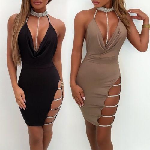 Mini Dress Party Evening Bandage Short Cocktail Bodycon Club Women/'s Sleeveless