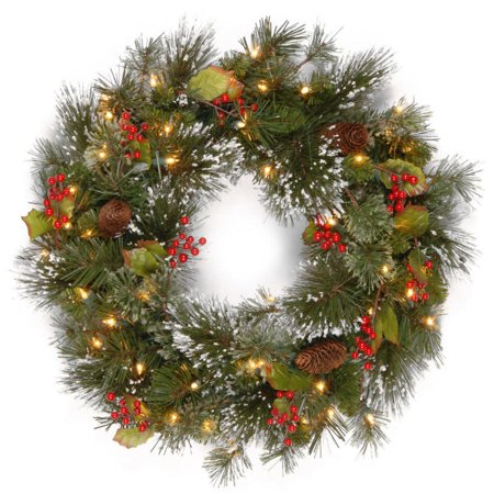24 pre lit battery operated artificial christmas wreath with pine cones and berries