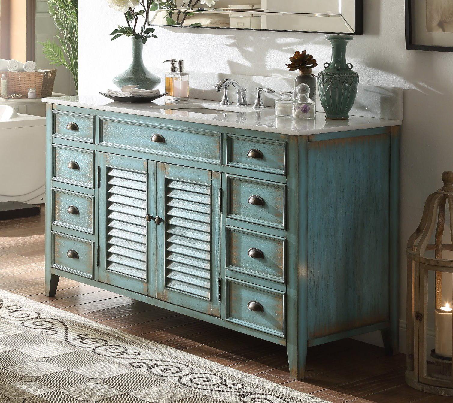 60 Benton Collection Abbeville Rustic Blue Bathroom Vanity Cf 66323bu 60 Bs Walmart Com Walmart Com