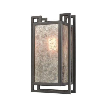 Elk Lighting Synchronis - One Light Pendant, Oil Rubbed Bronze Finish with Tan Mica Glass