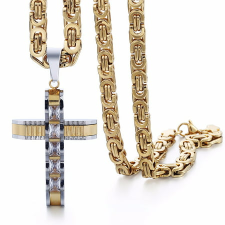 Hermah Mens Boys Carved Cross Stainless Steel Pendant Necklace w Clear Rhinetones 20-24inch Birthstone Bead Boy Pendant