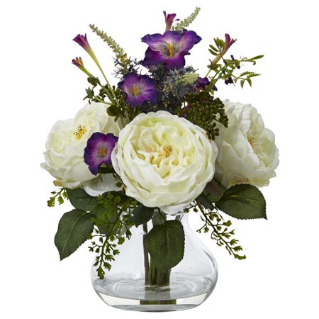 Nearly Natural Leticia Rose and Morning Glory Floral Arrangement in Decorative (Growing Morning Glory Flowers)
