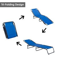 3-Position Portable Reclining Beach Chaise Lounge Outdoor Patio Adjustable Sleeping Bed - Dark blue