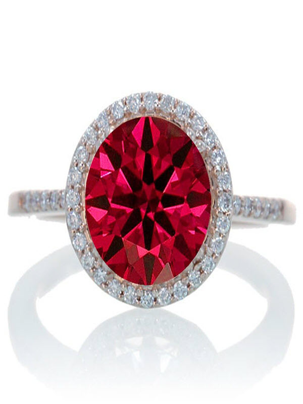 1.5 Carat Huge Ruby and Diamond Halo Classic Engagement Ring on 10k Rose Gold by JeenJewels