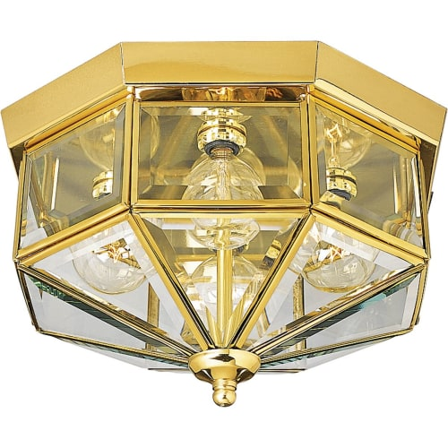"Progress Lighting P5789 4 Light Flush Mount Outdoor Ceiling Fixture with Beveled Glass Panels - 11"" Wide"