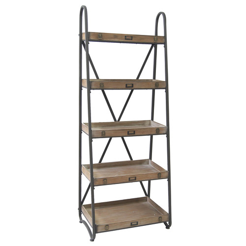 Crestview Collection Voyager Metal and Wood Tiered 67'' Etagere Bookcase by Crestview Collection